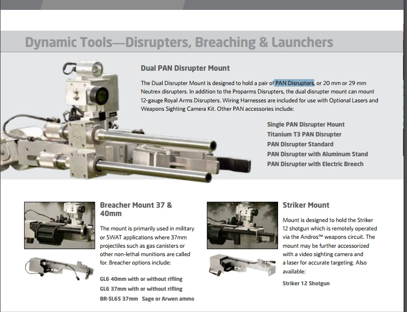 These are some of the options offered in the Northrop Grumman catalog for the Remotec robots.