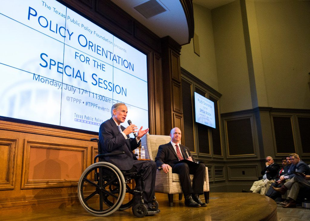 Texas Gov. Greg Abbott speaks at a Texas Public Policy Foundation policy orientation event moderated by Dr. Kevin Roberts, right, executive vice president of TPPF on Monday, July 17, 2017 at 901 Congress Ave. in Austin, Texas.