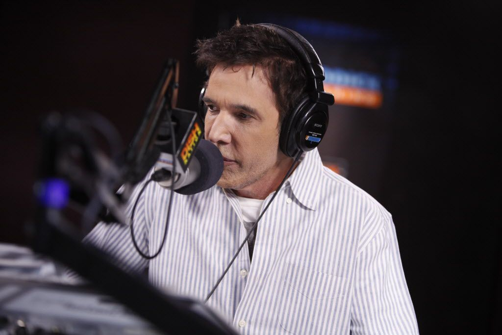 Kidd Kraddick at the microphone at the studio he built in Las Colinas.