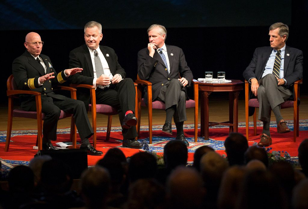 Admiral Chip Miller, James Bradley, Jon Meacham and Brit Hume participate in a panel discussion during a 75th Anniversary of Pearl Harbor commemoration at the George Bush Presidential Library on Wednesday, Dec. 7, 2016, in College Station, Texas. (Smiley N. Pool/The Dallas Morning News)