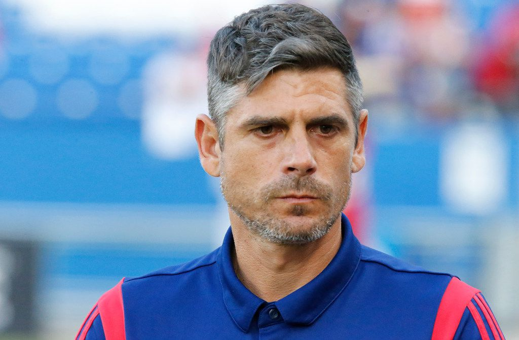 Head coach Luchi Gonzalez enters the pitch as FC Dallas hosted the Vancouver Whitecaps at Toyota Stadium in Frisco on Wednesday night, June 26, 2019.  (Stewart F. House/Special Contributor)