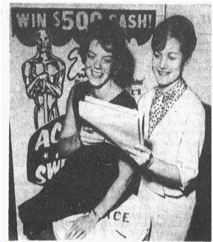 "Photo in April 3, 1969 edition of The Dallas Morning News: ""Picking Oscar winners: Dorothy Wilcoxen, left, and Susan Green, law firm secretaries, are among thousands of movie fans balloting in the Academy Award Sweepstakes."""