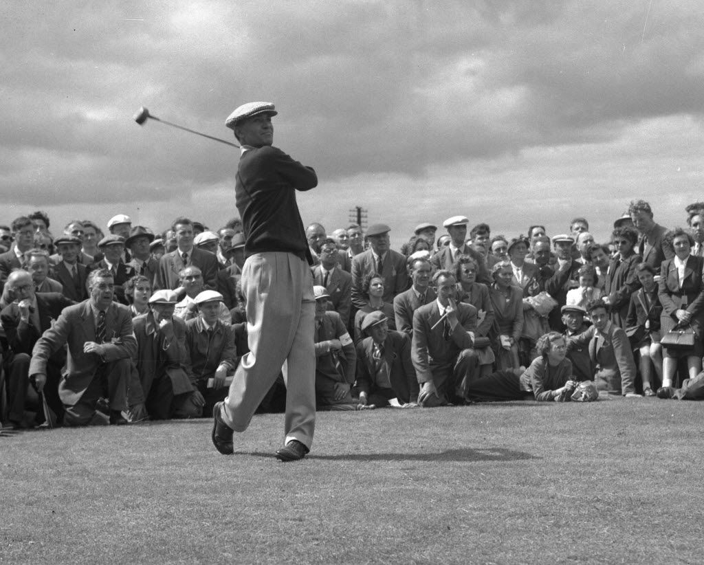 U.S. golfer Ben Hogan drives from the tenth tee on the Burnside course during the British Open golf tournament  at Carnoustie, July 6, 1953, watched by a large gallery. (AP Photo/Dennis Lee Royle) ORG XMIT: APHS312 07132015xSPORTS