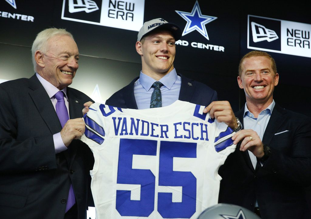 From left: Cowboys owner Jerry Jones, Boise State linebacker Leighton Vander Esch and head coach Jason Garrett stand together while introducing Vander Esch at The Star in Frisco on Friday, April 27, 2018 -- the day after Dallas selected him with the 19th overall pick of the 2018 NFL draft. (Andy Jacobsohn/The Dallas Morning News)