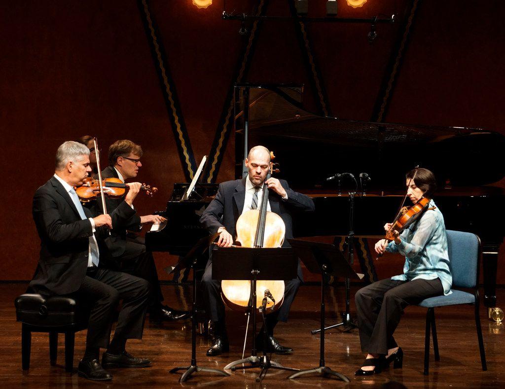 Stephen Rose (violin), John Novacek (piano), Brant Taylor (cello) and Joan DerHovsepian (viola) perform Gustav Mahler's Piano Quartet in A Minor at the PepsiCo Recital Hall on the campus of Texas Christian University in Fort Worth.