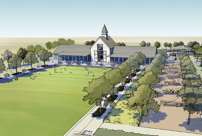 A former equestrian arena at Pecan Square will be repurposed as part of the new residential community.