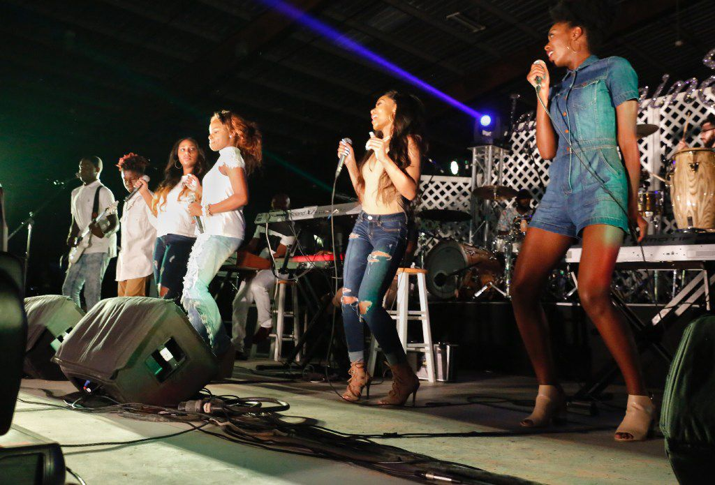 YGBA (from left, Malik Woods, Terrance Dean, Jr., Harper Jones, Kir'Ondria Woods, Jada Thomas and Rachel Webb) was the opening act at the Riverfront Jazz Festival 2017.