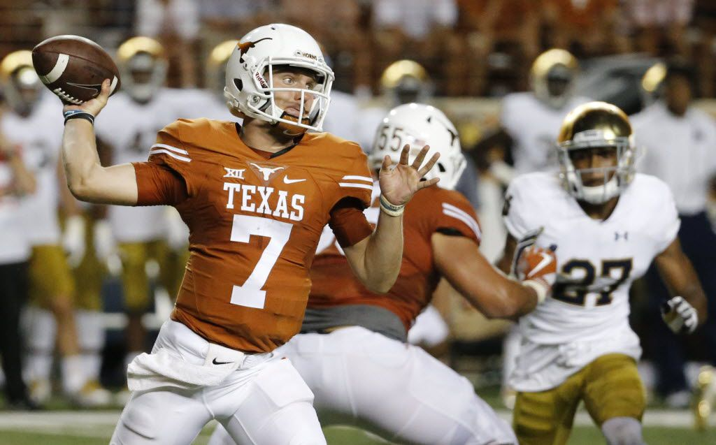 Texas quarterback Shane Buechele (7) throws a third-quarter pass during the Notre Dame Fighting Irish vs. the University of Texas Longhorns NCAA football game at Darrell K. Royal Memorial Stadium in Austin on Sunday, September 4, 2016. (Louis DeLuca/The Dallas Morning News)