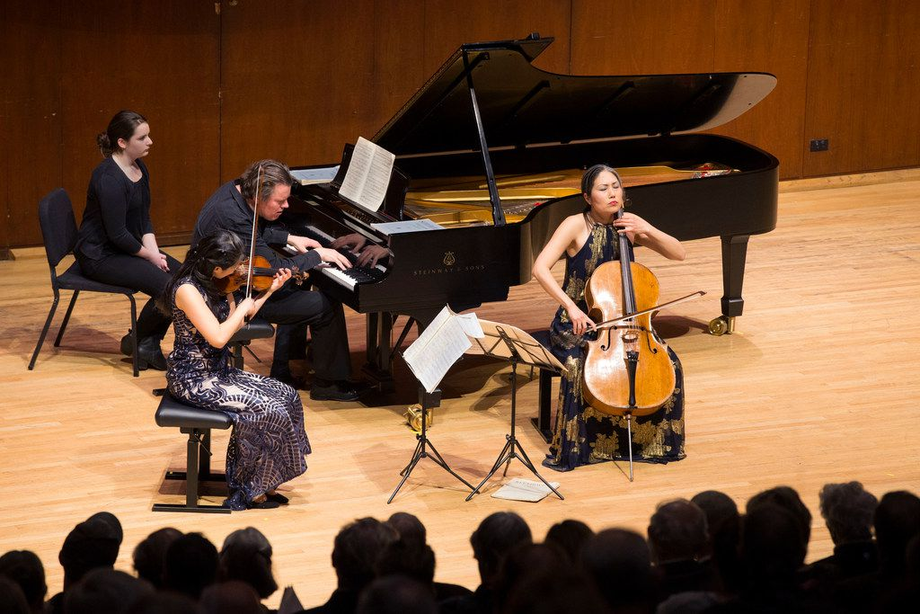 Trio con Brio Copenhagen's violinist Soo-Jin Hong, cellist Soo-Kyung Hong and pianist Jens Elvekjaer during a performance at Caruth Auditorium at Southern Methodist University's Owen Arts Center in Dallas on Feb. 18, 2019.