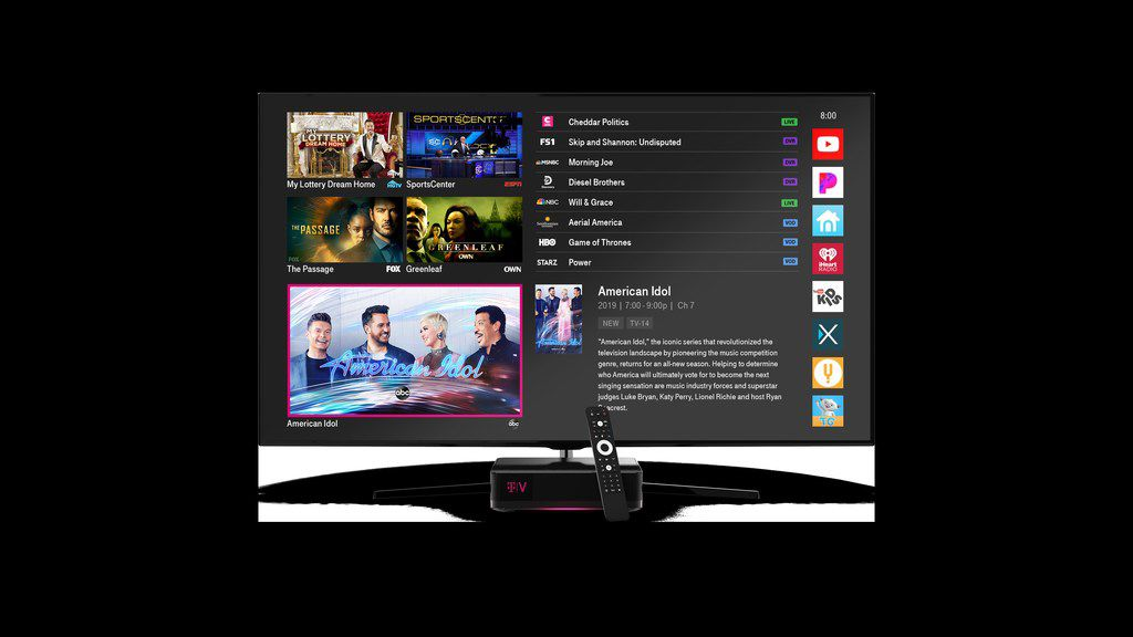 T-Mobile announced on April 10 that it's launching a new TV service in the Dallas area and plans to debut a streaming service later this year. The new TV service, TVision Home, has a lineup of live channels like other traditional cable or satellite TV services, but T-Mobile has touted its streamlined and higher-tech approach. It has a sleek set-top box, supports 4K (or ultra high-definition) channels and learns customer's viewing habits so it can suggest shows they might like.