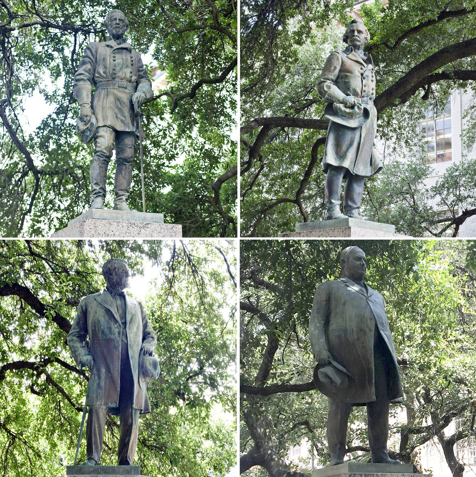 The four statues removed from the University of Texas at Austin's South Mall were (clockwise from top left): Robert E. Lee, Albert Sidney Johnston, Gov. James Hogg and John Reagan.