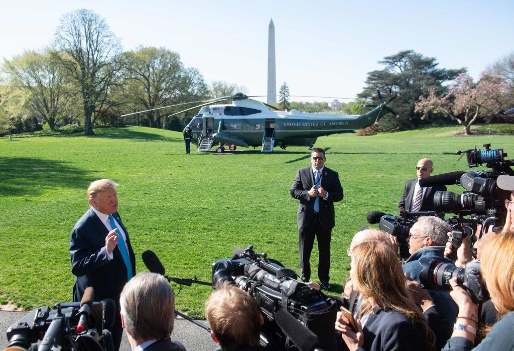 President Donald Trump speaks to the press prior to departing on Marine One from the South Lawn of the White House on April 10, 2019, as he travels to Texas to speak about the economy and attend political events.