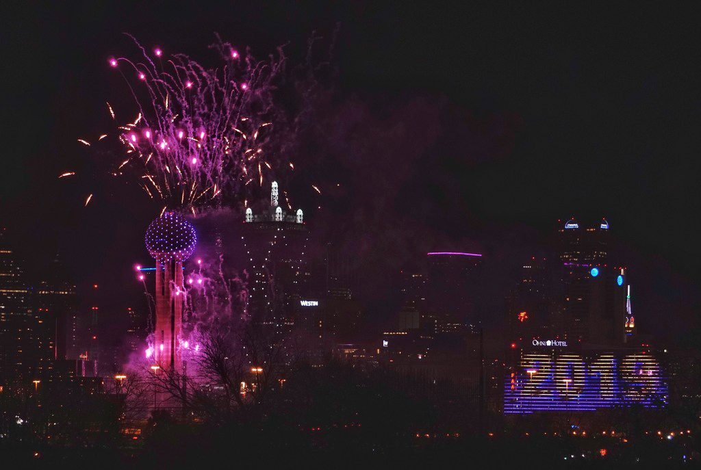 New Years Eve fireworks at Reunion Tower in Dallas, TX on Thursday December 31, 2018.