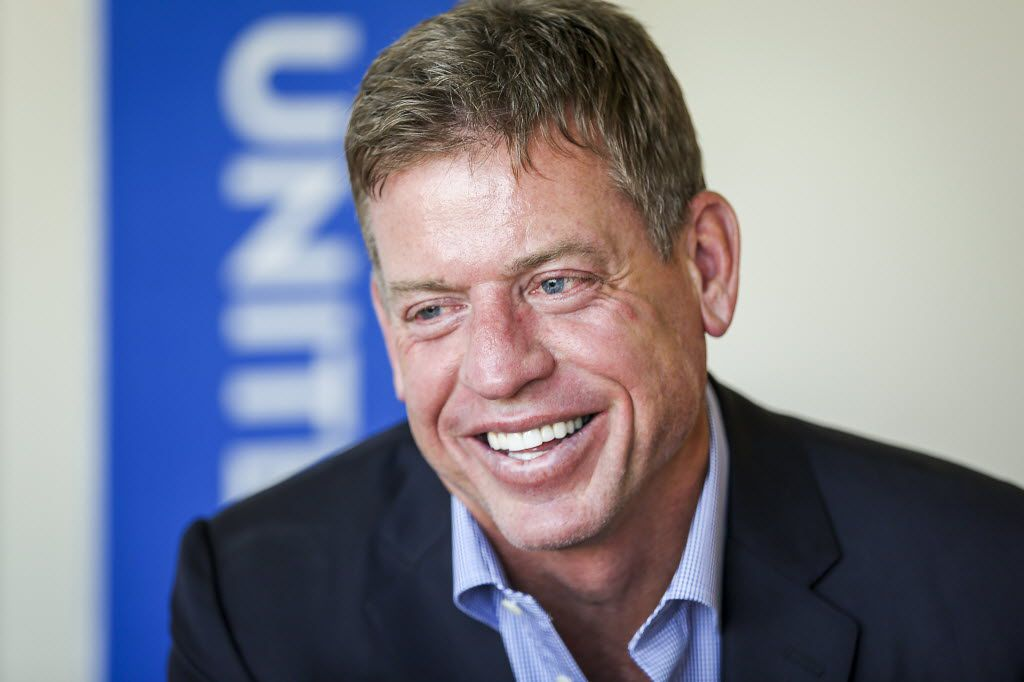 Troy Aikman smiles during an interview  about why he decided to  fold his nonprofit into the United Way on Thursday, March 31, 2016, in Dallas. (Smiley N. Pool/The Dallas Morning News)