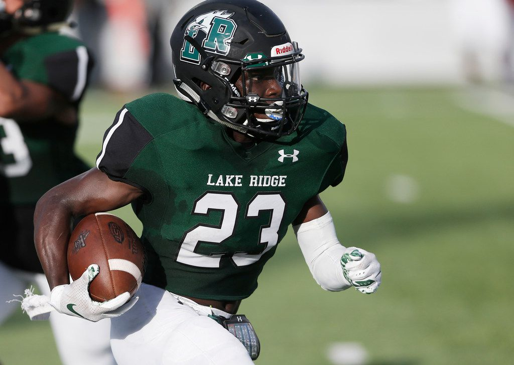 Mansfield Lake Ridge junior wide receiver Tameron Derrough (23) carries the ball during the first half of a high school football game against Mansfield Timberview at R.L. Anderson Stadium in Mansfield, Friday, September 14, 2018. (Brandon Wade/Special Contributor)