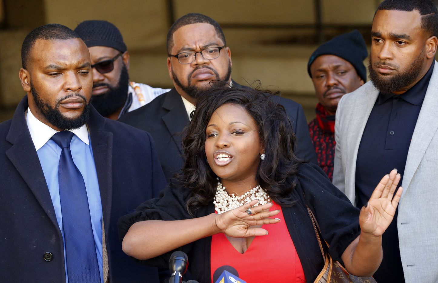 Jasmine Crockett, an attorney for the Craig family, responds to Fort Worth police Chief Joel Fitzgerald's decision to suspend an officer for 10 days without pay. (Tom Fox/Staff Photographer)
