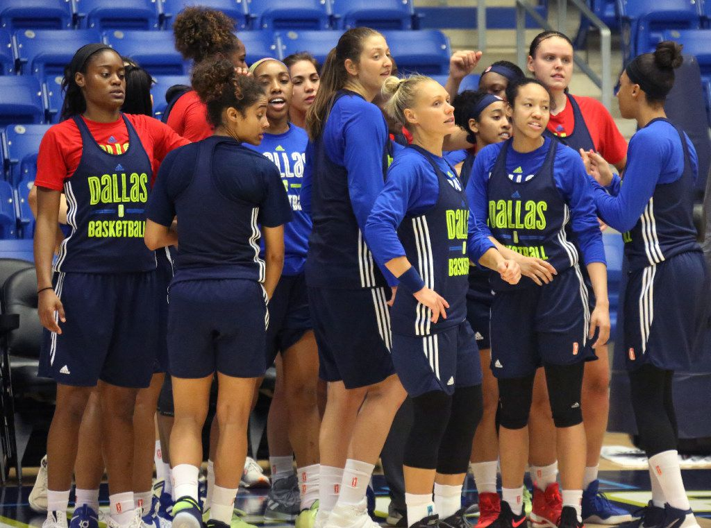 The Dallas Wings team is pictured during training camp at UTA's College Park Center in Arlington, Texas on Wednesday, April 26, 2017. (Louis DeLuca/The Dallas Morning News)