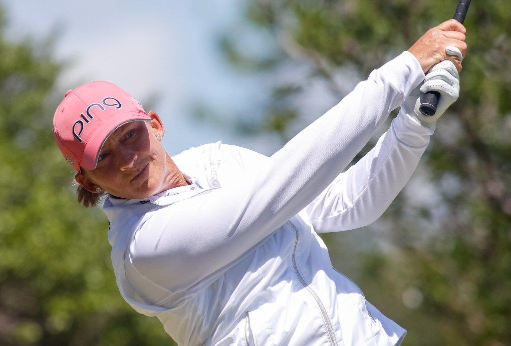 Angela Stanford tees off on the 2nd hole during the final round of the Volunteers of America Texas Shootout at Las Colinas Country Club in Irving, TX on Sunday, April 30, 2017. Special to S-T/Ray Carlin ORG XMIT: B739926418Z.1