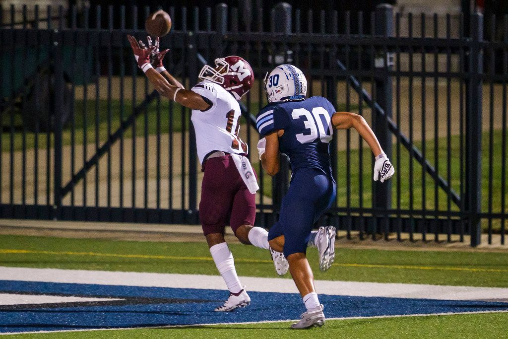 Mesquite wide receiver Keldrick Demus (10) has a pass go off his hands in the end zone during the second half of a high school football game against L.D. Bell on Thursday, Sept. 19, 2019, in Bedford, Texas. (Smiley N. Pool/The Dallas Morning News)