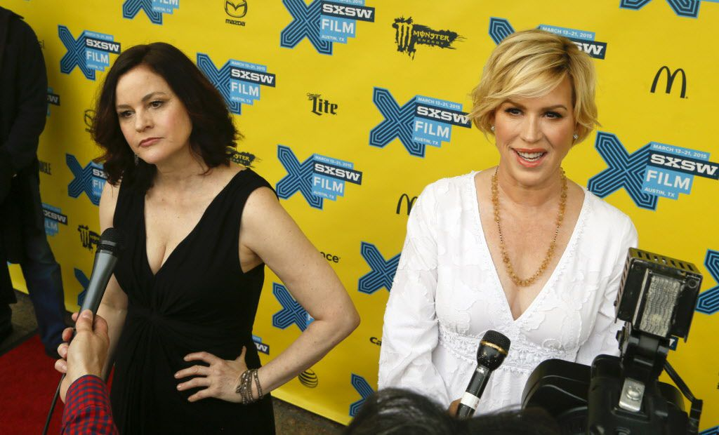 """Molly Ringwald, right, and Ally Sheedy talk to the media on the red carpet for """"The Breakfast Club"""" 30th Anniversary Restoration World Premiere."""