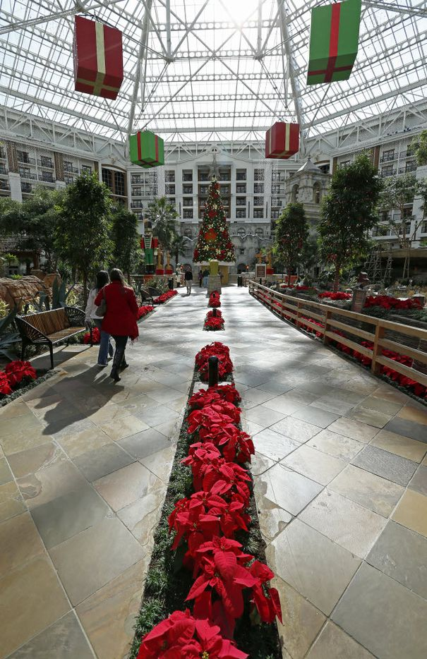 The lobby at the Gaylord Texan Resort & Convention Center is fully decorated for the holidays.
