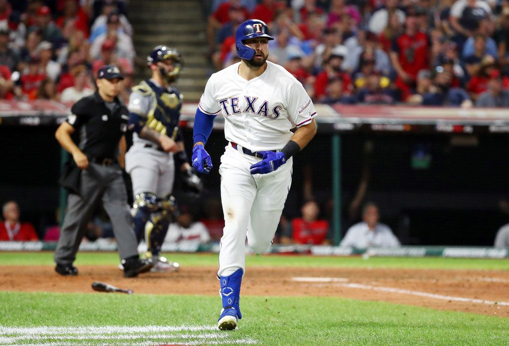 CLEVELAND, OHIO - JULY 09: Joey Gallo #13 of the Texas Rangers and the American League runs the bases after hitting a solo home run during the seventh inning against the National League during the 2019 MLB All-Star Game, presented by Mastercard at Progressive Field on July 09, 2019 in Cleveland, Ohio. (Photo by Gregory Shamus/Getty Images)