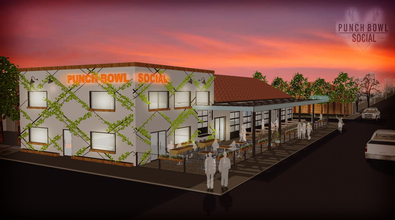 "An artist's rendering of the Fort Worth location of Punch Bowl Social, an ""eatertainment"" venue scheduled to open in December."