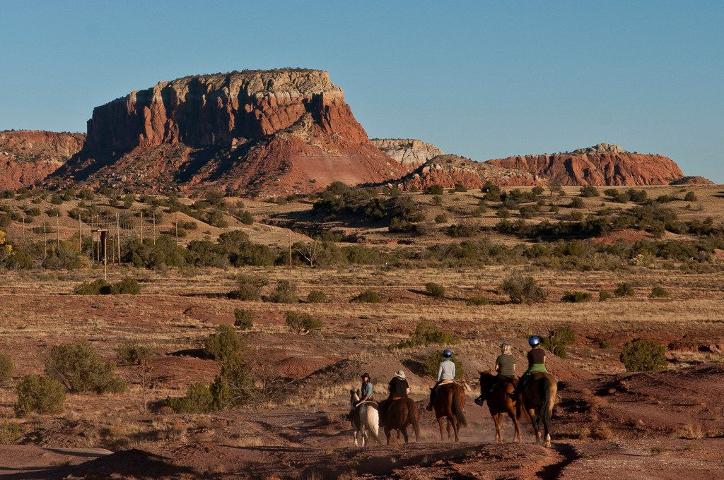 Horseback riders at Ghost Ranch can see the same landscape that Georgia O'Keeffe immortalized in her famous paintings.