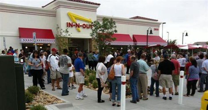 The crowd at the opening of In-N-Out Burger in Frisco on May 11, 2011.
