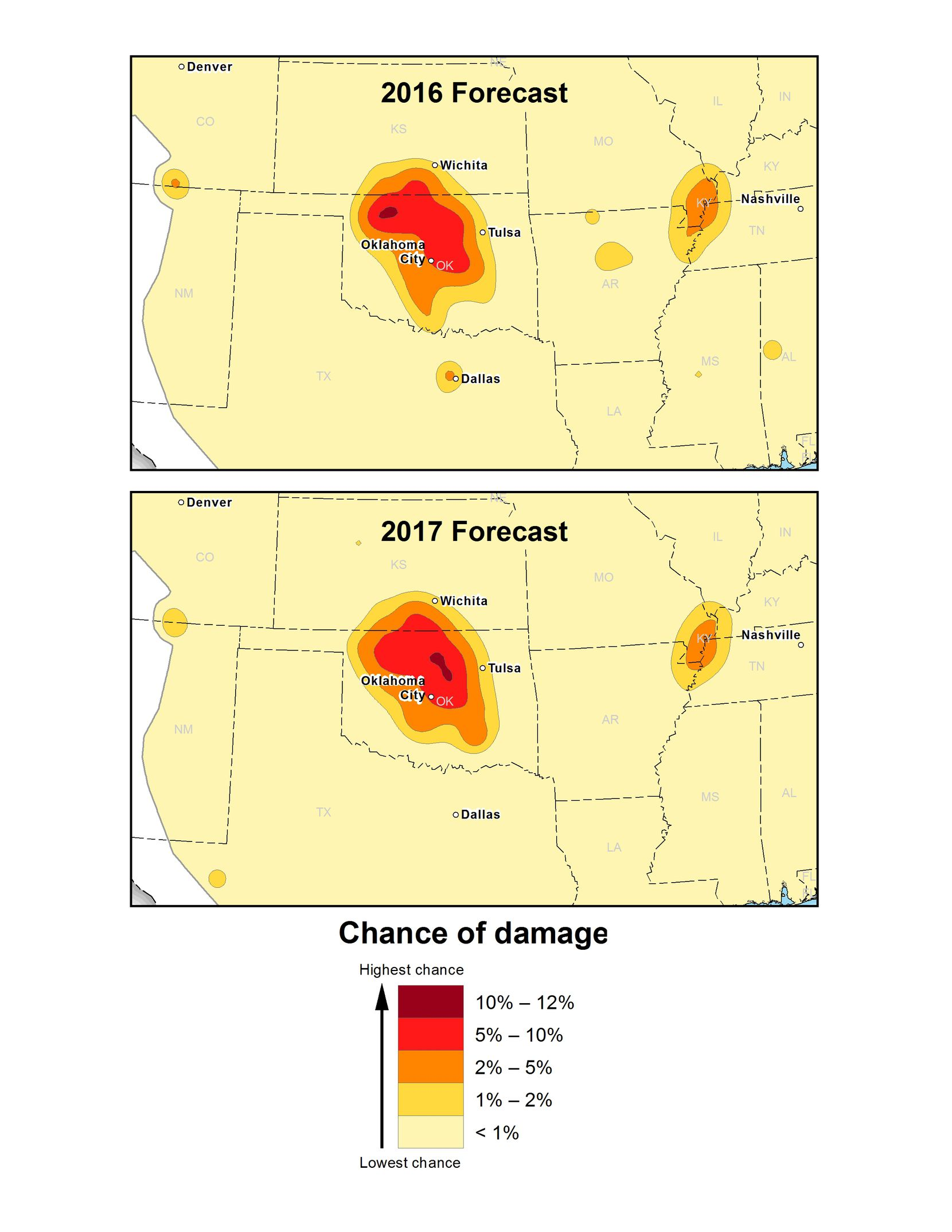 A comparison of USGS one-year hazard forecasts for 2016 and 2017 in the central and eastern U.S. The maps show a steep decline in North Texas and a new small area of hazard in the Permian Basin of West Texas. The USGS reports a high hazard for earthquakes in five areas: Oklahoma-Kansas, the Raton Basin, north Texas, north Arkansas, and the New Madrid Seismic Zone.