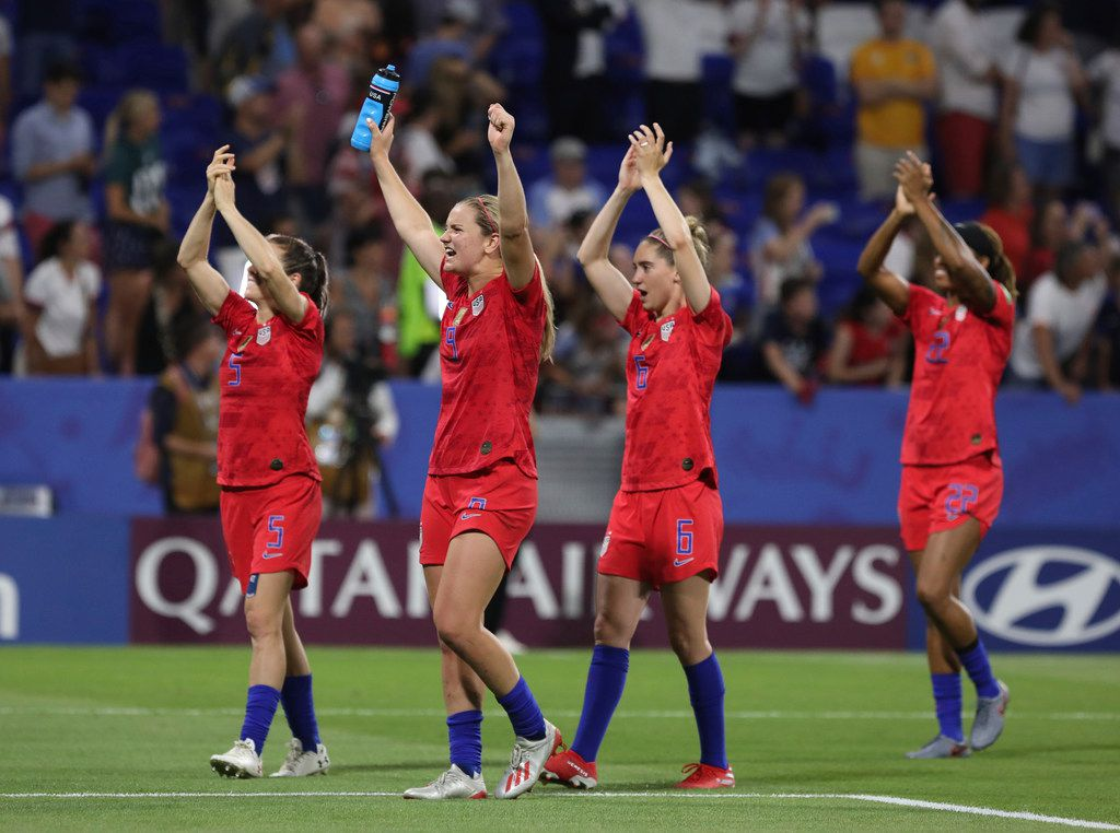 US players celebrate after the Women's World Cup semifinal soccer match between England and the United States, at the Stade de Lyon outside Lyon, France, Tuesday, July 2, 2019. US won 2-1. (AP Photo/Laurent Cipriani)