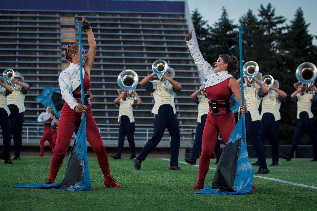 Zoe Middleton (right) dances during a run-through of The Troopers 2017 DCI show.