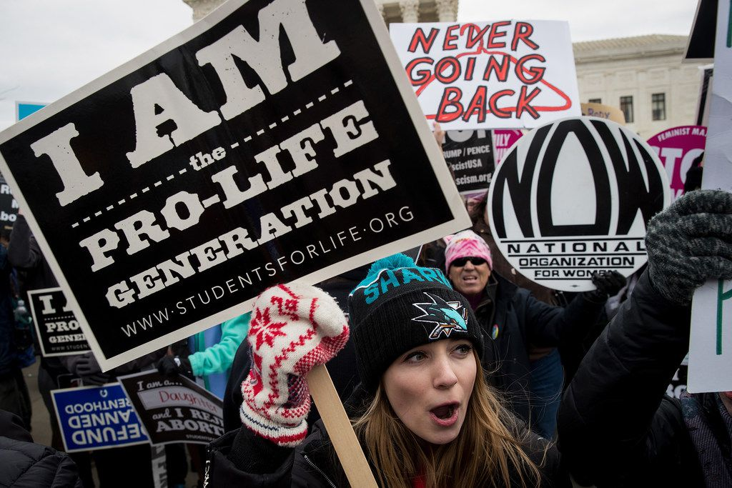 A mix of protesters for and against abortion rights rallied outside of the Supreme Court during the March for Life on Jan. 27, 2017, in Washington, D.C.