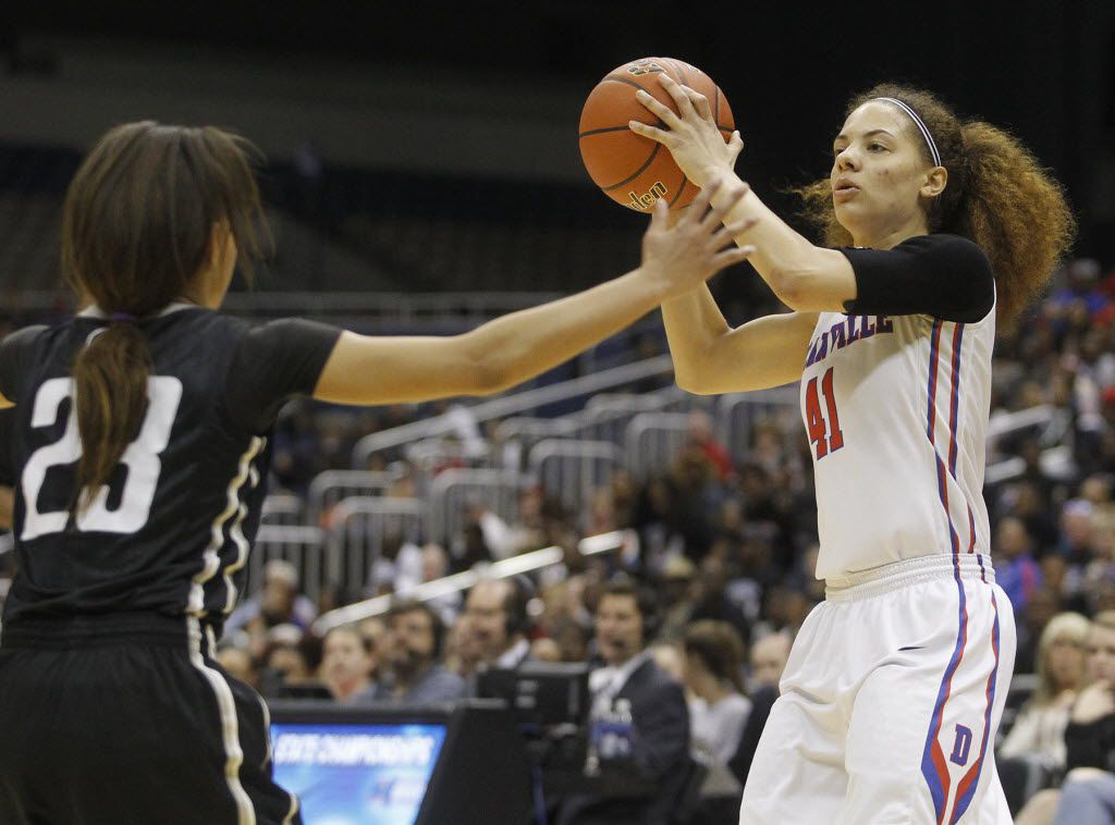 Duncanville's Madison Townley (41) looks to get around Cibolo Steele's Charisma Shepherd (23) during the UIL Girls State Basketball 6A semifinal at the Alamodome in San Antonio, Friday, March 4, 2016. (Stephen Spillman/Special Contributor)