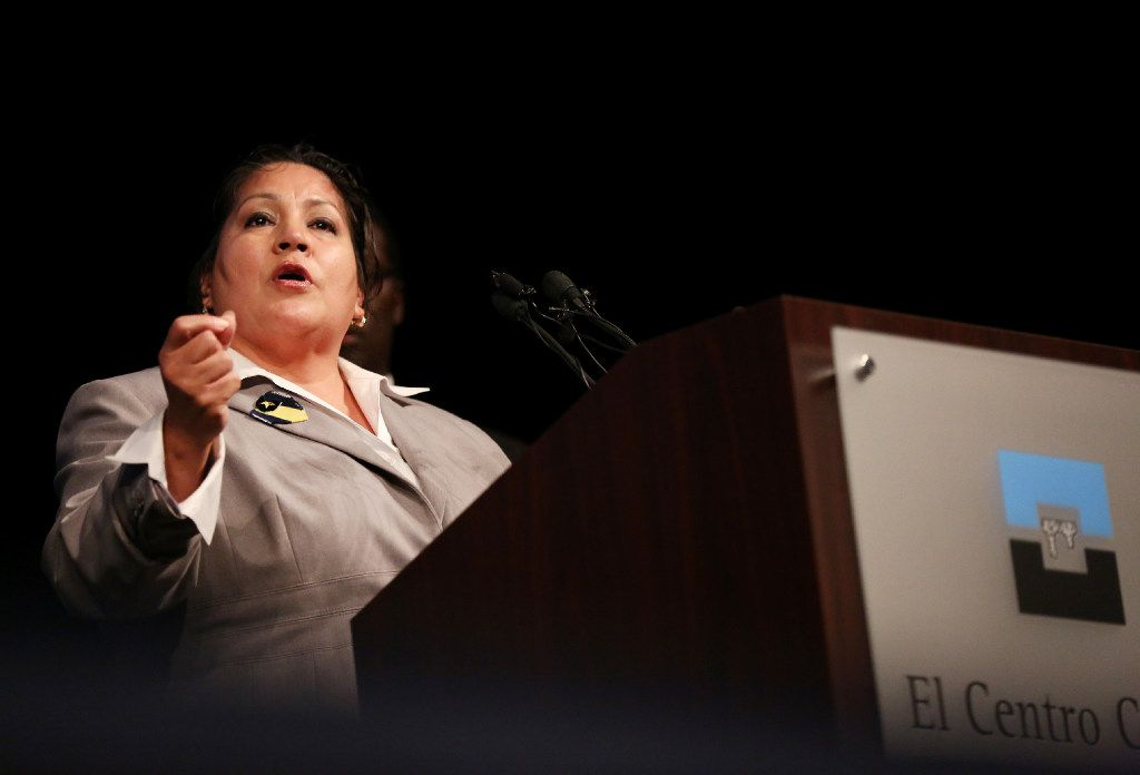 Monica Alonzo, who is Dallas mayor pro tem and district 6 councilwoman, speaks during a ceremony at El Centro College to heal and reflect on the July 7th shooting that recently occurred on and near the campus in down Dallas Wednesday July 27, 2016. Alonzo is seeking a fourth term in a crowded field of candidates in her West Dallas district. (Andy Jacobsohn/The Dallas Morning News)