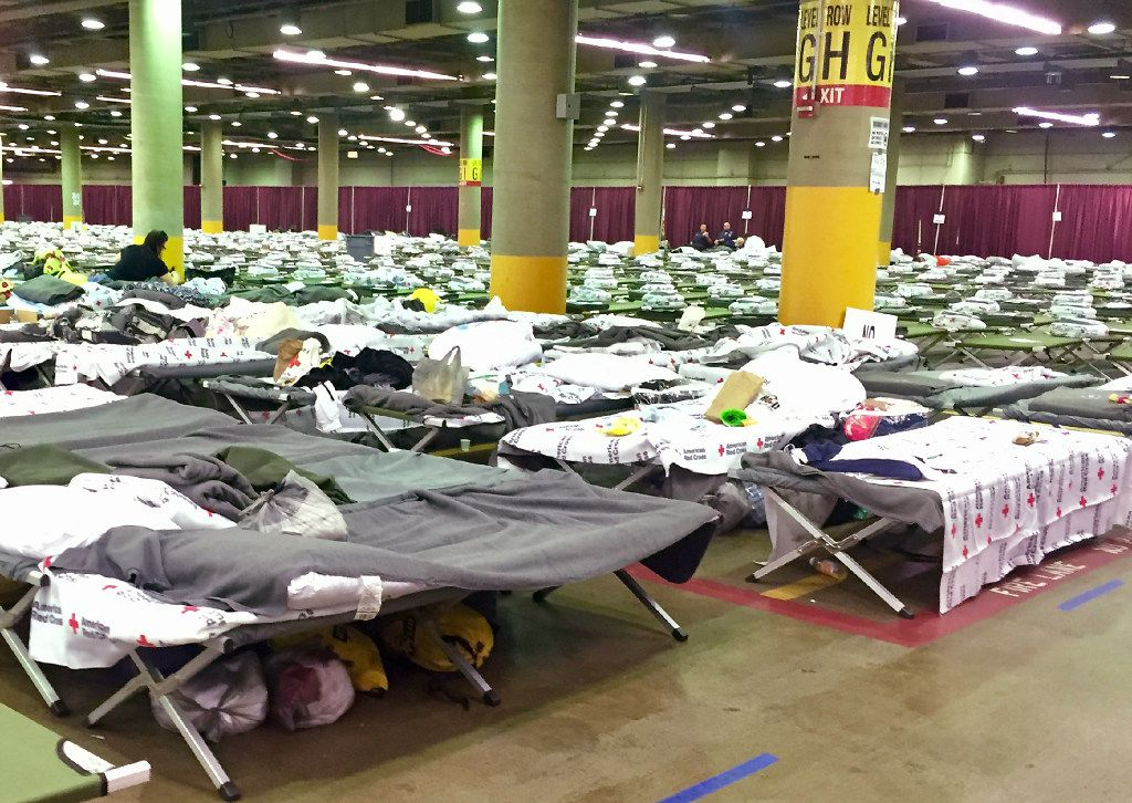 """A """"mega-shelter"""" was set up at Kay Bailey Hutchison Convention Center for Hurricane Harvey evacuees in September 2017."""