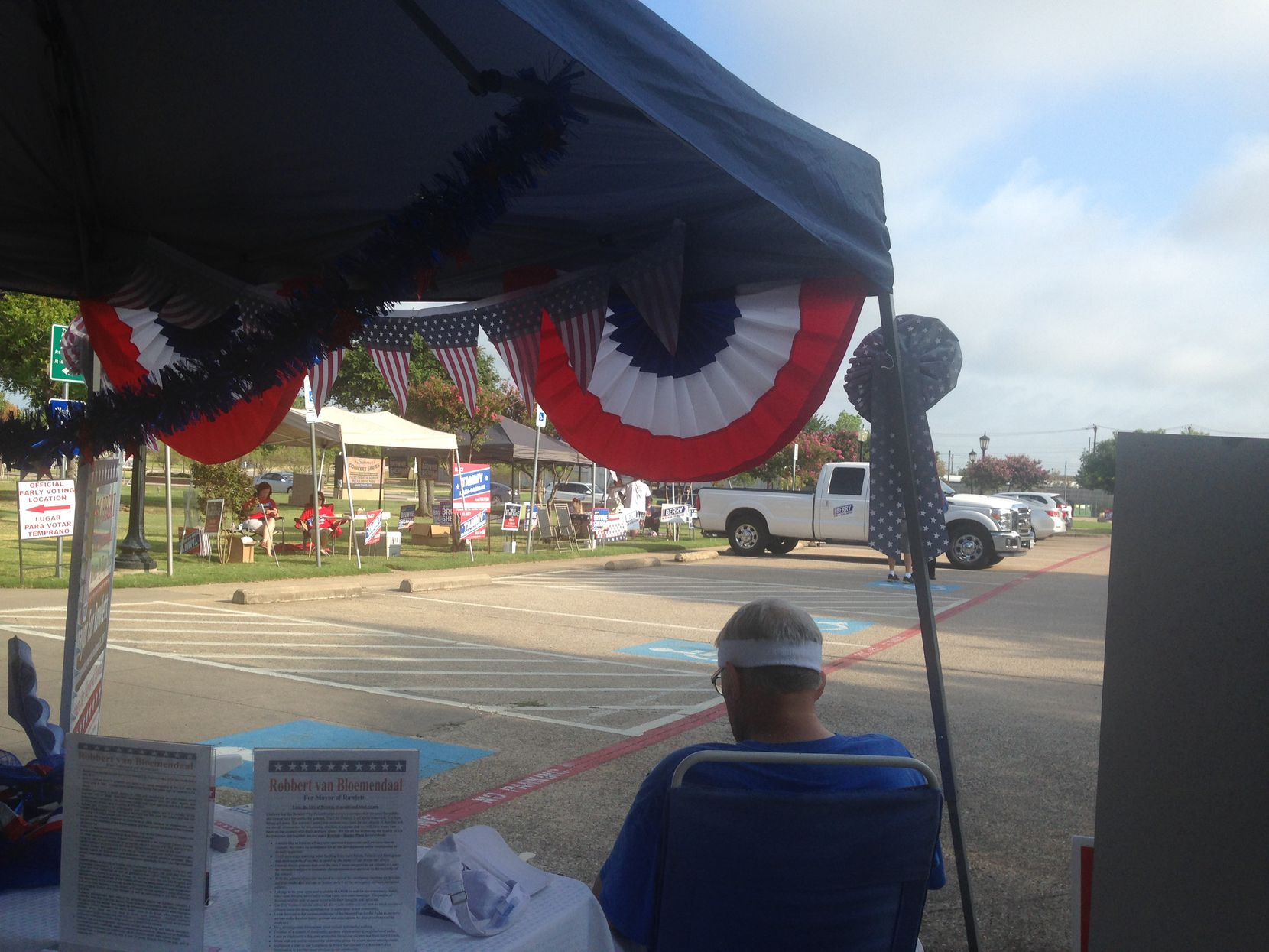 About half the candidates in Rowlett's Aug. 26 special election have set up camp outside the lone polling place, the Municipal Building Annex. By lunchtime on Wednesday, the first day polls were open, more than 100 had voted.