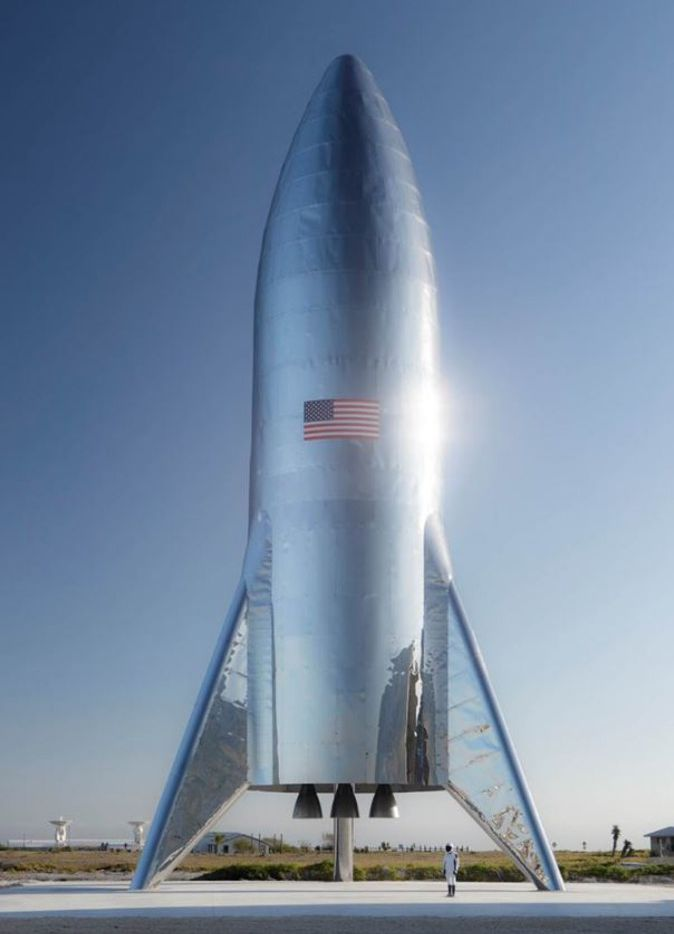 This photograph released by SpaceX CEO Elon Musk on January 11, 2019, shows the test version of the Starship Hopper, which awaits its first flight test in Texas in the coming weeks. - The prototype was built in Boca Chica, along the Gulf Coast of Texas.