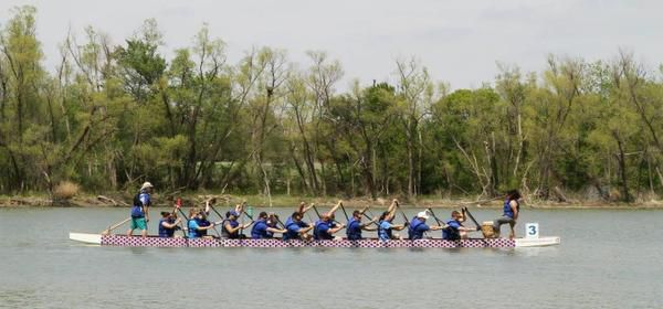 The Grand Prairie police finished with the best overall time at the Dragon Boat races at Loyd Park.