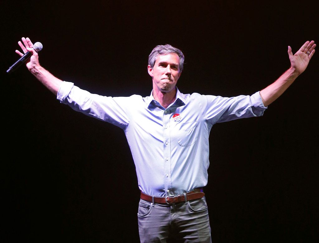 Beto O'Rourke thanked supporters during the election party at Southwest University Park baseball stadium in El Paso on Nov. 6, 2018. O'Rourke lost a close race for U.S. Senate to incumbent Sen. Ted Cruz.