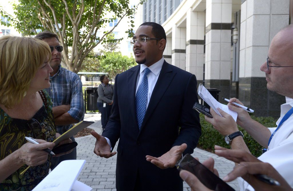 Chris Chestnut spoke with reporters in 2012 about a Florida A&M University hazing death. He's now embroiled in a lawsuit in Dallas. (File Photo/The Associated Press)