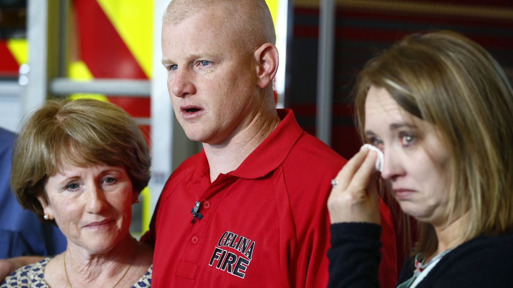 Celina firefighter Andrew Needum; his mother, Julie Needum; and his wife, Stephanie Needum, talked Thursday about their experience on Southwest Airlines Flight 1380.