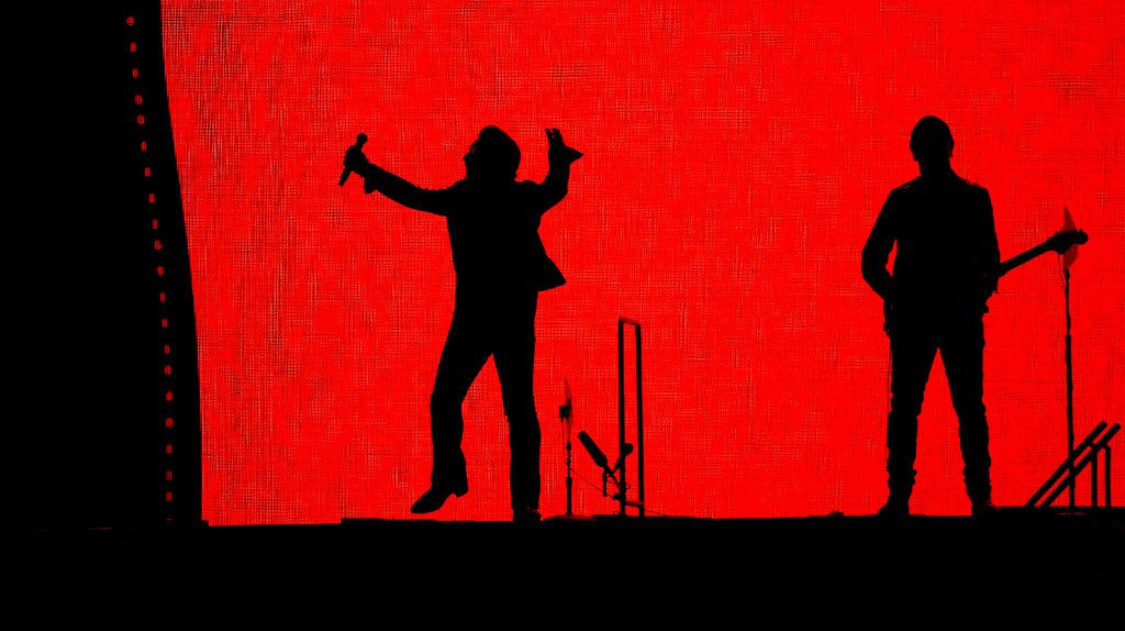 Bono (left) and the Edge of U2 perform on stage at AT&T Stadium in Arlington, Texas, Friday, May 26, 2017. (Jae S. Lee/The Dallas Morning News)