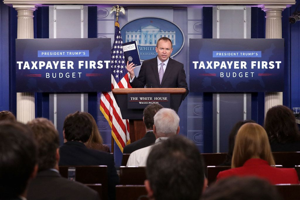 Office of Management and Budget Director Mick Mulvaney holds a news conference to discuss the Trump Administration's proposed FY2017 federal budget in the Brady Press Briefing Room at the White House May 23, 2017 in Washington, DC. Photo by Chip Somodevilla/Getty Images)