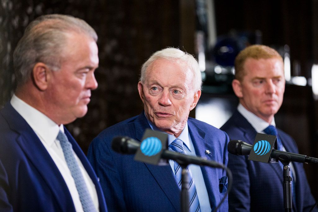 Dallas Cowboys Owner Jerry Jones, center, CEO and Executive Vice President Stephen Jones, left, and Head Coach Jason Garrett, right, speak at a press conference after making their first round pick on Thursday, April 26, 2018 at The Star in Frisco, Texas. The Cowboys picked linebacker Leighton Vander Esch from Boise State. (Ashley Landis/The Dallas Morning News)