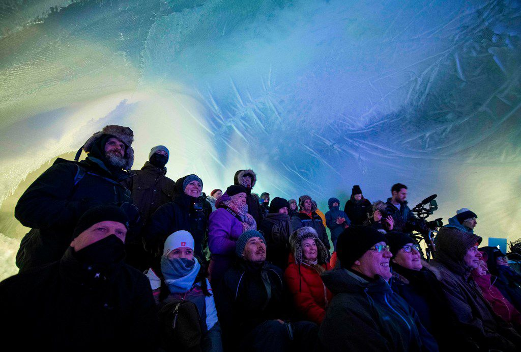 People attend the Ice Music Festival on Feb. 2, 2018 in the small mountain village of Finse in the municipality of Ulvik in southern Norway.