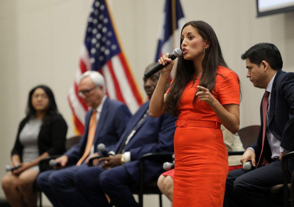 Cristina Tzintzun Ramirez speaks during a Democratic Senate candidate debate at the Collin College Preston Ridge Campus in Frisco, TX, on Sep. 5, 2019.