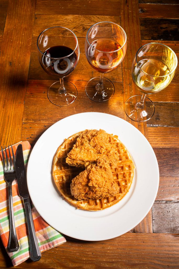 Chicken and waffles with wine photographed during a wine panel in Dallas