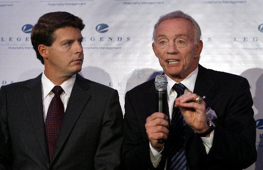 Hal Steinbrenner, left, co-chairman of the New York Yankees, joined Jerry Jones, owner of the Dallas Cowboys, in 2008 to launch Legends Hospitality Management LLC.  (AP File Photo/Jason DeCrow)
