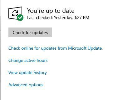 A screenshot of the Windows 10 Update control panel.